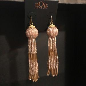 nOir Jewelry gold beaded tassel earrings